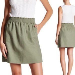 J Crew Cotton-Linen Sidewalk Mini Skirt Army Green